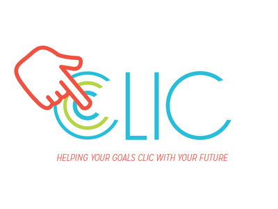 Clic Logo Sample flat ripple movement tech branding minimal click hand logo