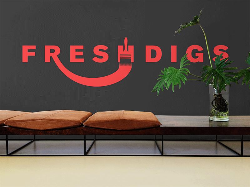 Fresh Digs office brush paint red fresh digs digs fresh mockup concept branding logo