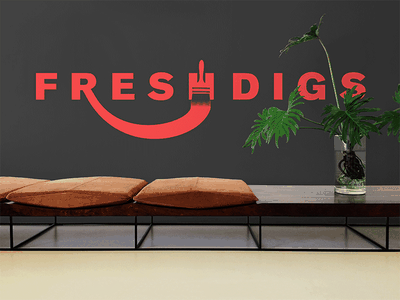 Fresh Digs office brush paint red fresh digs digs fresh mockup concept branding logo
