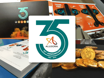 Allegra 35 Open House print collateral branding chocolate coin paper airplane allegra open house
