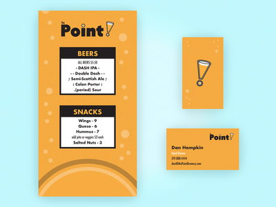 Menu and Business Card branding collateral the point brewery menu business card beer