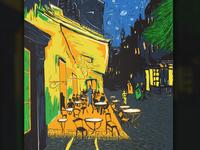 Café Terrace at Night Illustration