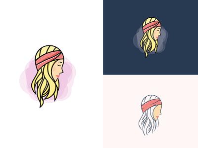 Artboard   1 simple face blue pink minimal band headband head girl illustration design logo