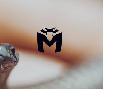 snake M simple typogaphy design logo animal m logo snake