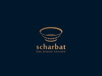 scharbat drink negative space modern persian bowl blue simple logo design