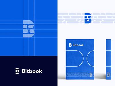 bitbook modern digital data b logo technology blue simple logo design book