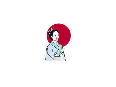 japanese woman logo circle red circle simple beautiful woman woman japanese kimono japan logo design illustration