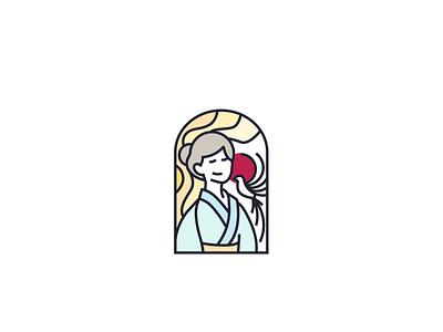 woman logo design flag red red circle bird paradise flycatcher japanese woman japan illustration simple logo design