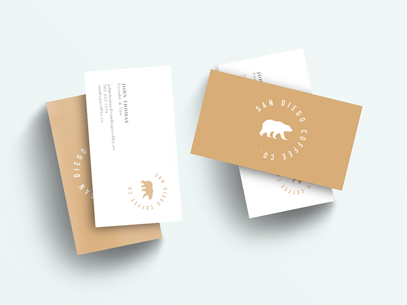 San Diego Coffee Co. business card branding brand creative modern clean
