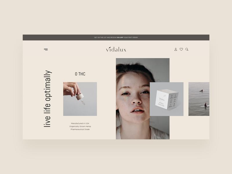Vidalux - CBD Website thc hemp cbd modern creative simple minimal clean website web ux ui typography studio photo interface grid design corporate agency