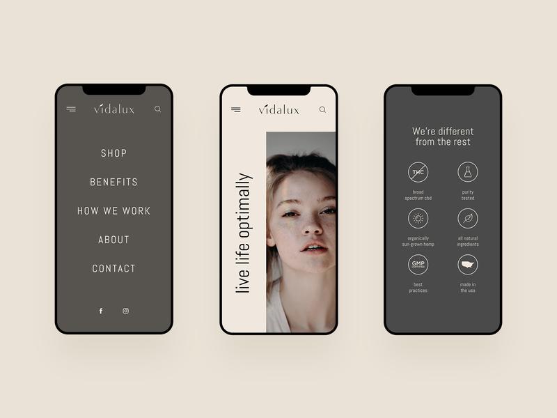 Vidalux - CBD Mobile Website corporate design grid interface photo studio typography ui ux web website clean minimal simple creative modern cbd hemp thc mobile