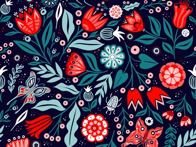 Folkin' Fun surfacepatterndesign botanical beetle butterfly floral spoonflower fabric surfacepattern folkart pattern