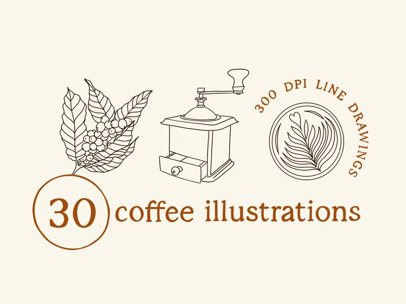 30 Coffee Illustrations latte art barista cafe etsy digitalproducts linedrawings digitalart illustration coffee