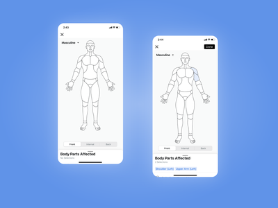 Injury Record and Body Parts Affected Diagram [Mobile] procore ios app body diagram interaction design illustration ios mobile ux ui
