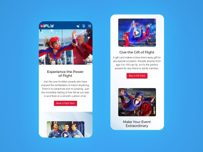 iFLY Mobile Website Redesign branding websites b2c website simple clean visual design company page indoor sky diving indoor sky dive mobile web home page ifly ux ui