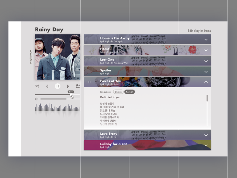 Daily UI 009 - Music Playlist music playlist rainy day sketch ux design ui design epik high 009 dailyui