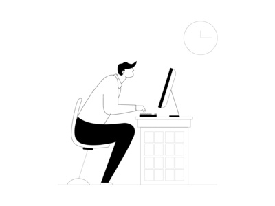 Man Sitting In Front Of Computer Vector Line Art