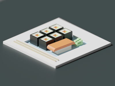Low Poly Sushi sushi roll 3d render blender 3d art 3d low polygon lowpoly low poly sushi