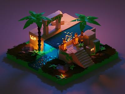 Ancient Ruin waterfall palm tree graswald grass 3d illustration blender 3d render 3d art 3d ruin