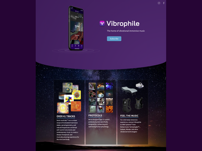 Vibrophile Landing Page stripe webflow landing page web web design app bioharmonic vibrational music immersive music vibration vibrophile