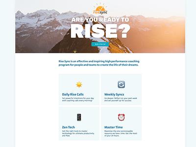 Rise Sync Landing Page landing page figma webflow sunlight sunrise sun web design webdesign website web personal growth personal development coaching coach coaches rise sync
