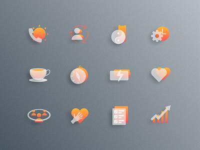 Rise Sync Icons icon coaching icons design figma glass effect glassmorphism iconset glass icons
