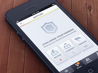 Battles battle iphone app application icons button brandlove socialbakers invite screen nav bar tab navigation