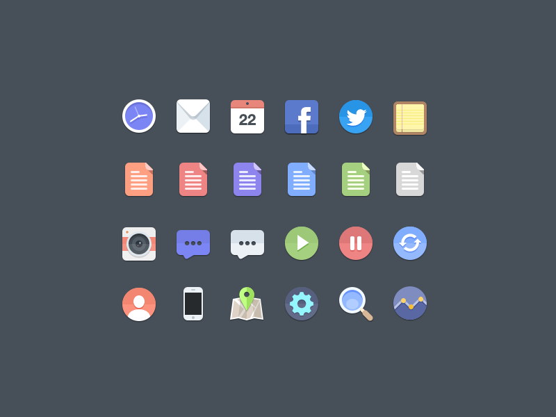 Free Flat Icons iconc flat clock facebook twitter iphone search document comment camera stats settings calendar notes refresh map pin user