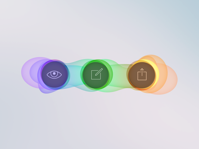 See, write and share illustration icons colors bubbles