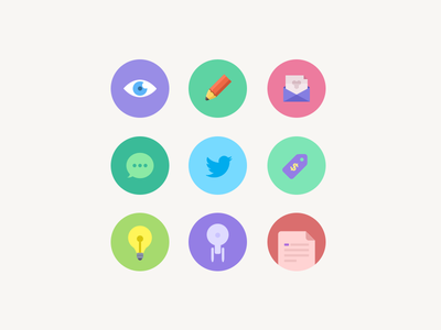 Flat Icons flat icons see edit share discuss twitter price enterprise document lightbulb