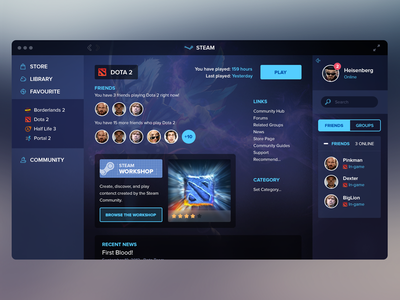 Steam Redesign steam valve games design ui icons profile ux app