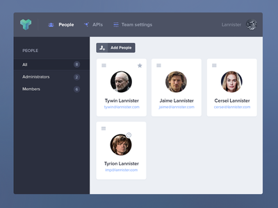 Apiary Team Dashboard people members users dashboard sidebar app apiary api header