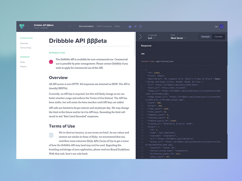 Dribbble api in apiary by jan dvok dribbble malvernweather Image collections