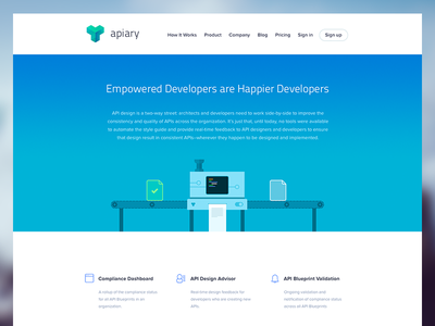 Apiary for Enterprise apiary enterprise website web product landing site page animation gif header