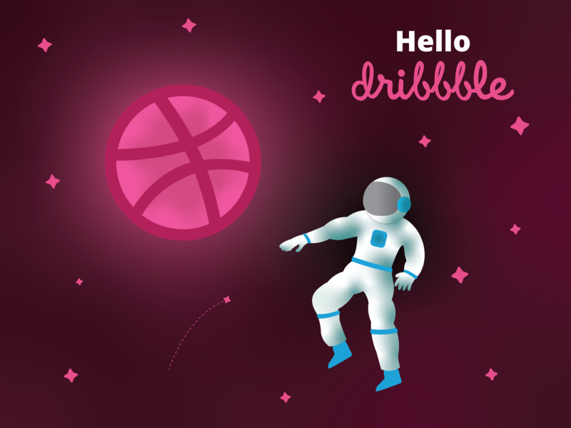 Hello Dribbble dribbble stars vector astronaut space illustration design