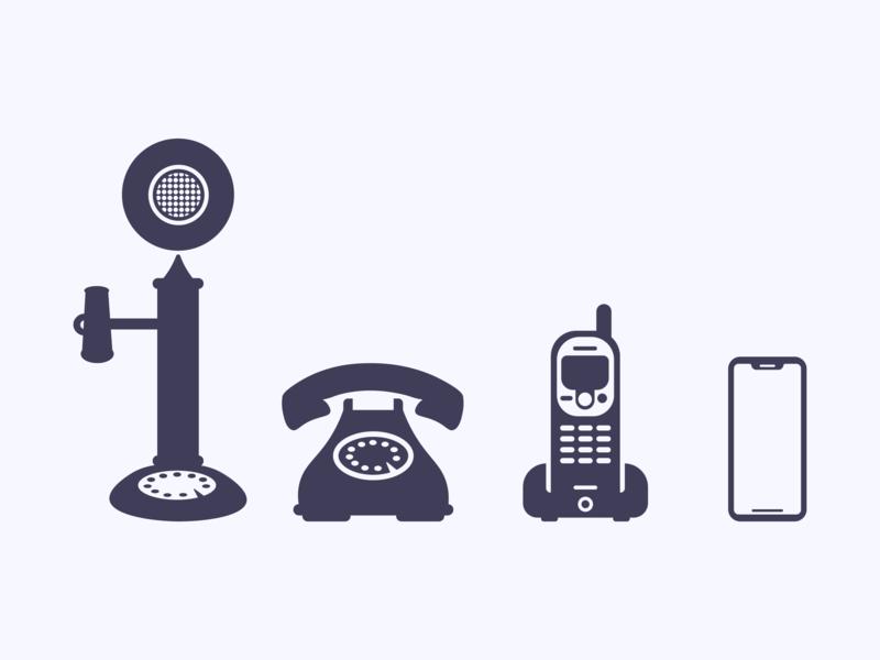 Evolution of the Telephone || Icon Set illustrator flat branding ux ui minimal clean icons set icons icon 2d vector illustration design