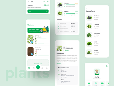 PLANTS IOT APP product design chart dashboard interface uiux green palm tree growing ui design