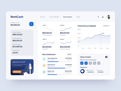 INVESTMENT DASHBOARD STATS cryptocurrency stats exchange setting interaction crypto money cash investing p2p investment invest lending illustration animation dashboard chart ux ui