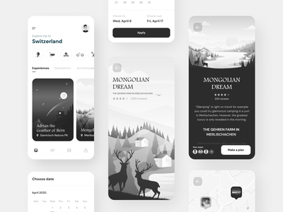 Trip planning app planer planning travel trip mobile app grayscale greyscale white black design 3d 2d interaction interface illustration color ux ui