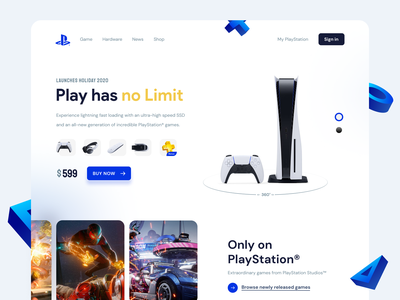PlayStation 5 Concept UI sketch figma interaction game header landing page web website interface ps5 playstation design hero image homepage ux ui