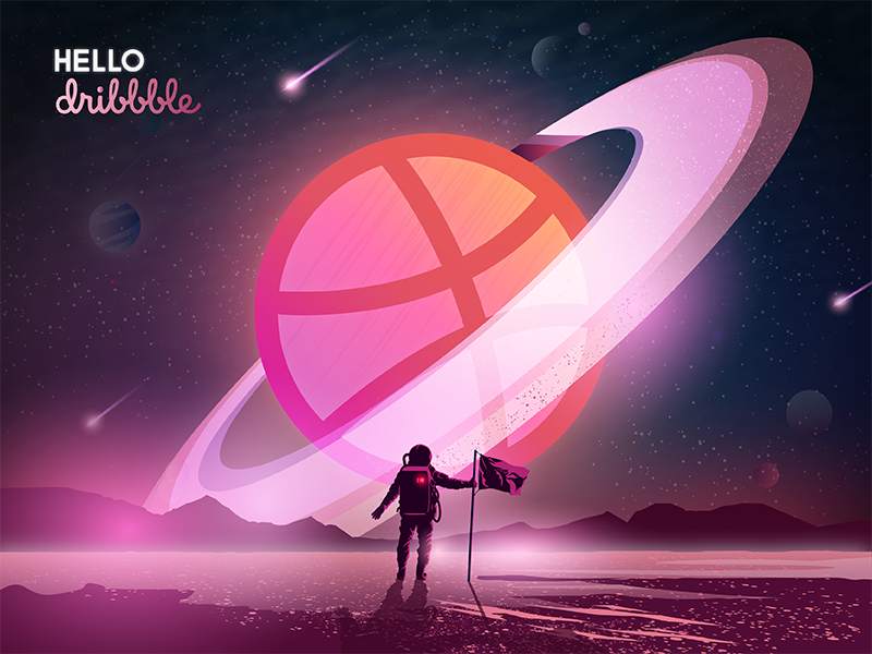 First Shot | Hello Dribbble! ux color visual ui design ui illustration space illustrator gradient astronaut debut dribbble