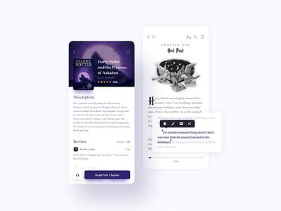 Reading App Concept harrypotter reader mobile ui reading book ui design color ux ui