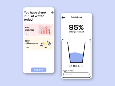 Moist App - water tracker undraw material design 2 adobe xd healthcare health android ios white mobile app pantone colors glass water cards interface minimal clean ux ui