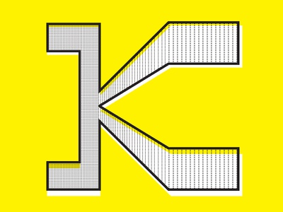 K typography yellow k