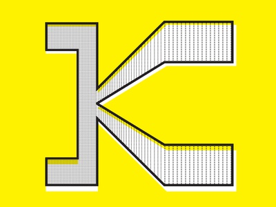 K typography yellow k