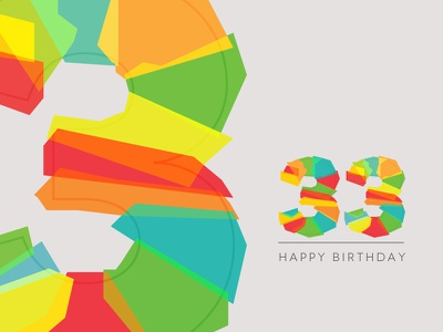33 typography multi-color birthday