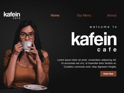 Kafein Cafe Landing Page Mockup