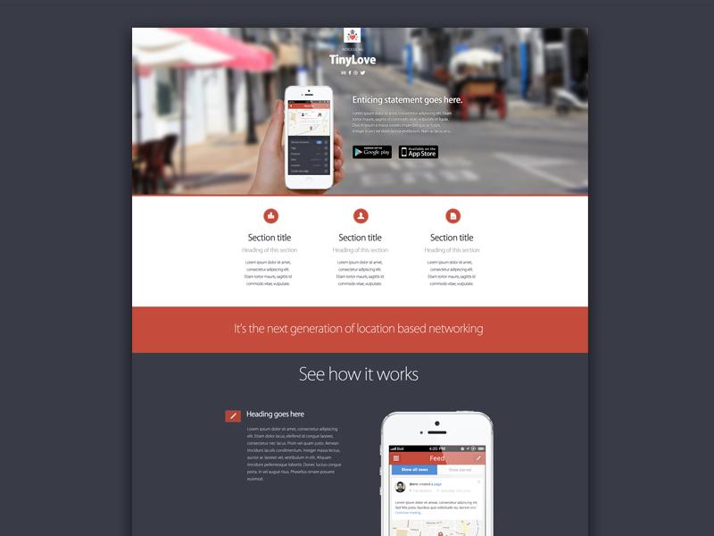 TinyLove Landing Page tinylove app ui mobile website web design landing page iphone photoshop location