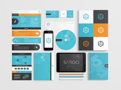 Satigo Brand Identity brand identity branding satigo business cards cd mark logo presentation iphone 5 ipad compliments slip