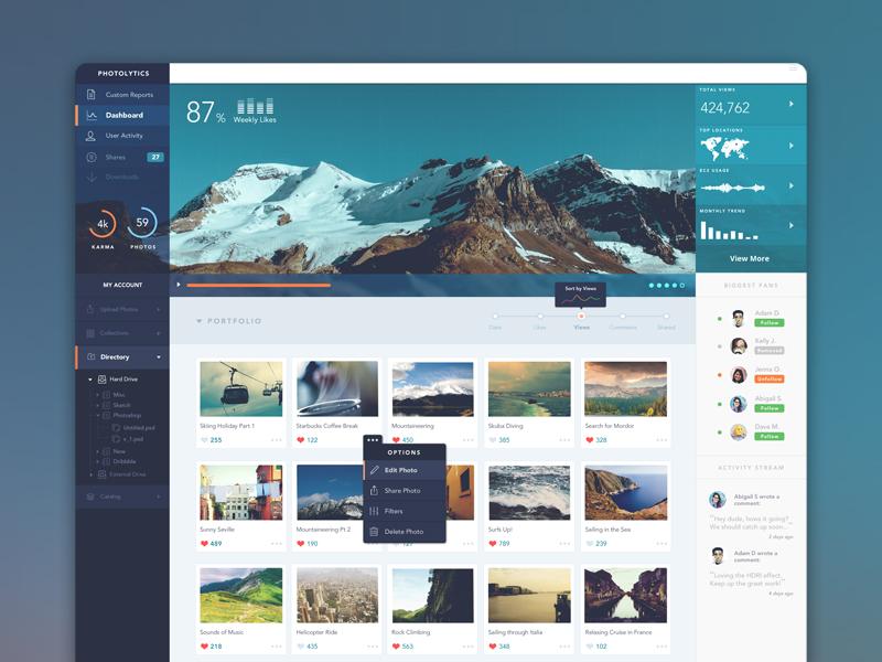 PhotoLytics Dashboard UI analytics dropdown photolytics dashboard photoshop ui user interface photo charts feed stream reports